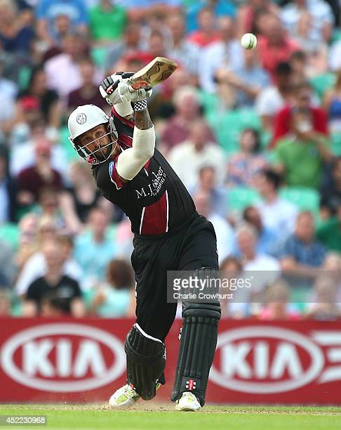 Peter Trego of Somerset hits out during the Natwest T20 Blast match between Surrey and Somerset at The Kia Oval on July 16 2014 in London England