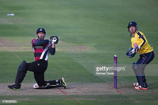 Peter Trego of Somerset hits to the legside as wicketkeeper Adam Wheater of Hampshire looks on during the NatWest T20 Blast match between Somerset...