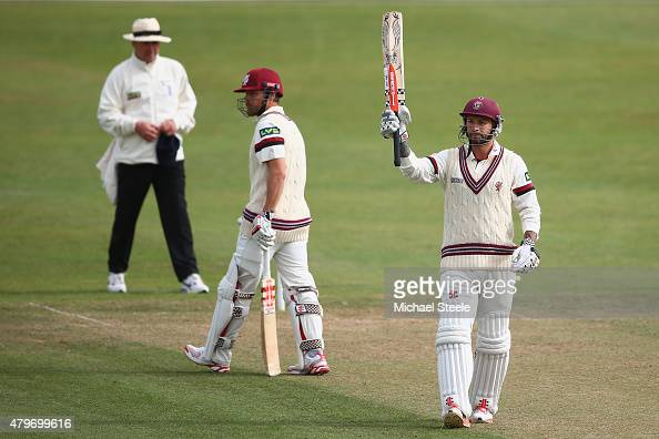 Peter Trego of Somerset raises his bat as he reaches his half century during day two of the LV County Championship match between Somerset and Sussex...