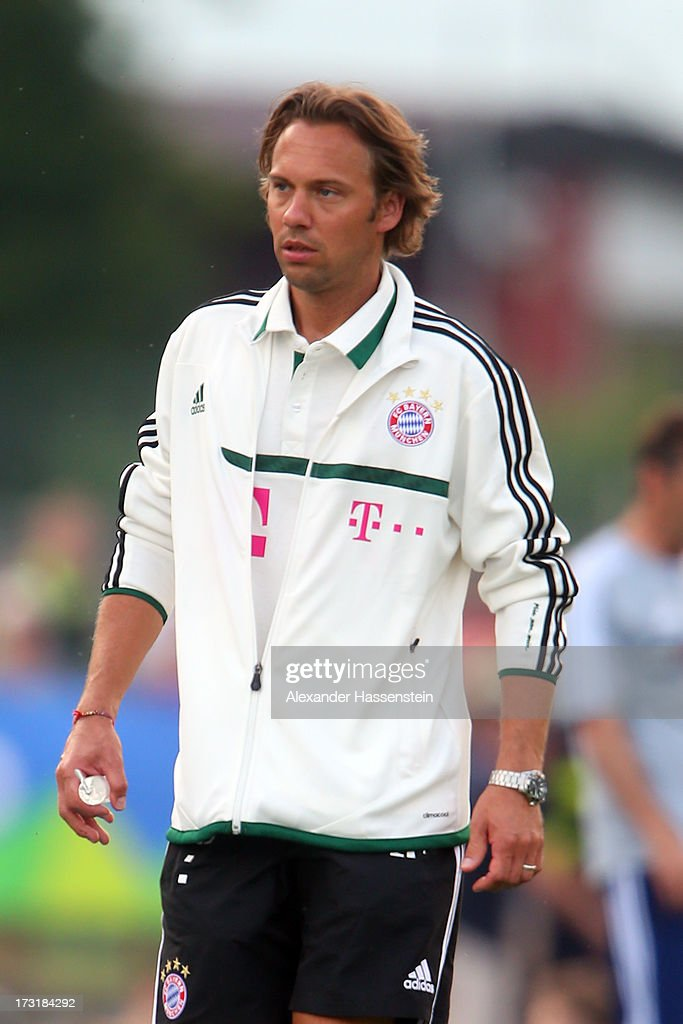 Peter Ueblacker, team doctor of FC Bayern Muenchen looks on during the friendly match between Brescia Calcio and FC Bayern Muenchen at Campo Sportivo on July 9, 2013 in Arco, Italy.
