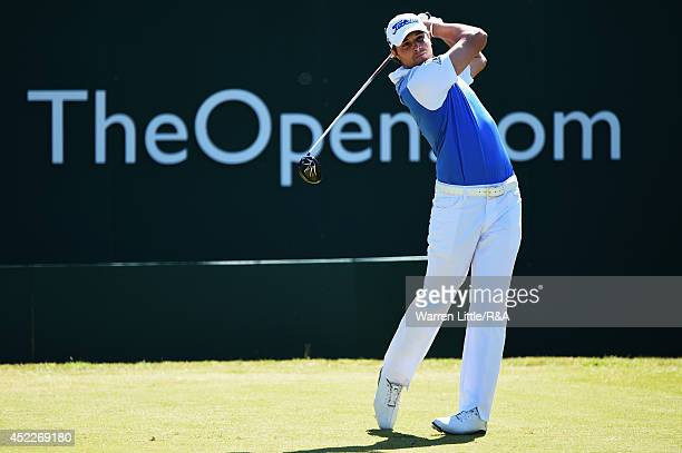 Peter Uihlein of the United States hits his tee shot on the first hole during the first round of The 143rd Open Championship at Royal Liverpool on...