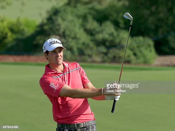 Peter Uihlein of the United States in action during his practice round as a preview for the 2015 DP World Tour Championship on the Earth Course at...