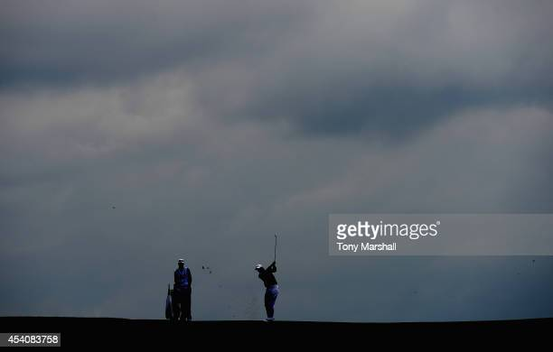 Peter Uihlein of the United States plays his second shot on the 8th fairway during day four of DD REAL Czech Masters at Albatross Golf Resort on...