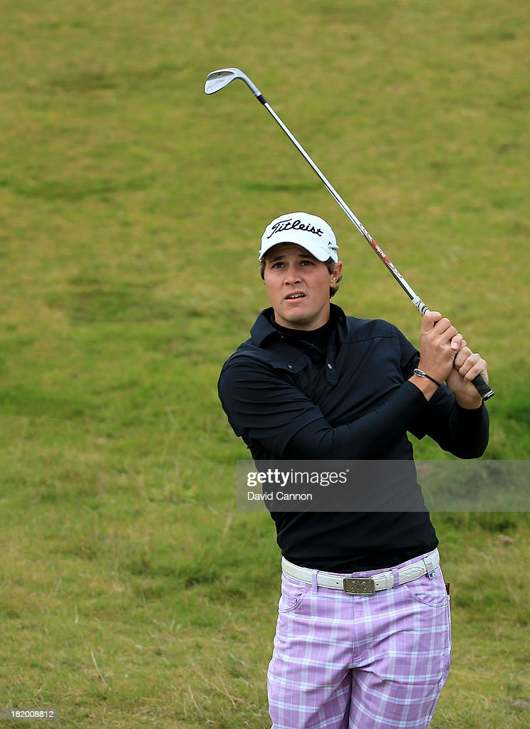 Peter Uihlein of the United States plays his second shots at the par 4, 10th hole during the second round of the 2013 Alfred Dunhill Links Championship at the Kingsbarns Golf Links on September 27, 2013 in Kingsbarns, Scotland.