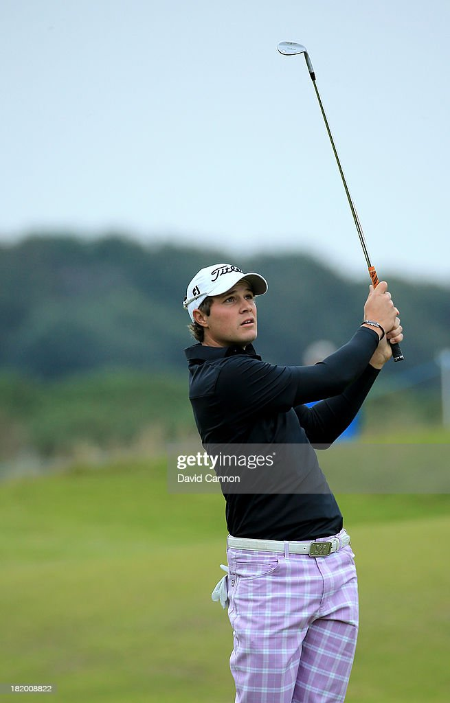 Peter Uihlein of the United States plays his second shots at the par 4, 11th hole during the second round of the 2013 Alfred Dunhill Links Championship at the Kingsbarns Golf Links on September 27, 2013 in Kingsbarns, Scotland.