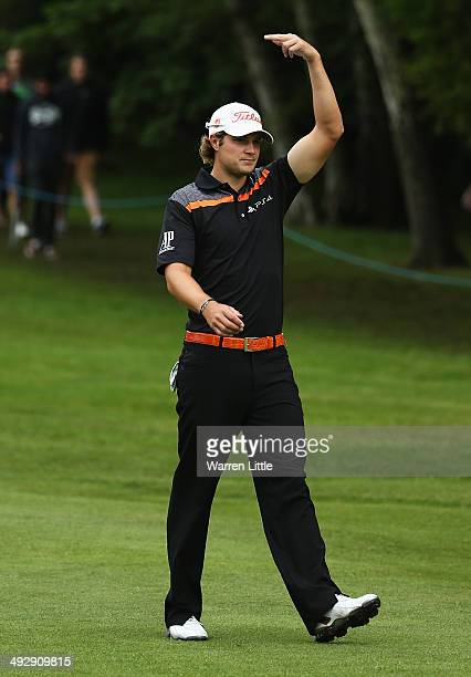 Peter Uihlein of the United States retires injured during day one of the BMW PGA Championship at Wentworth on May 22 2014 in Virginia Water England