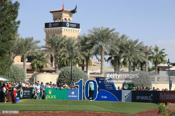 Peter Uihlein of the United States tees off on the 10th hole during the final round of the DP World Tour Championship at Jumeirah Golf Estates on...