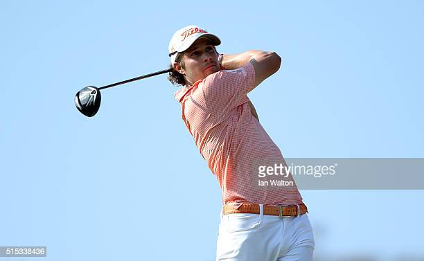 Peter Uihlein of the United States tees off on the 16th hole during the final round on day four of the Thailand Classic at Black Mountain Golf Club...