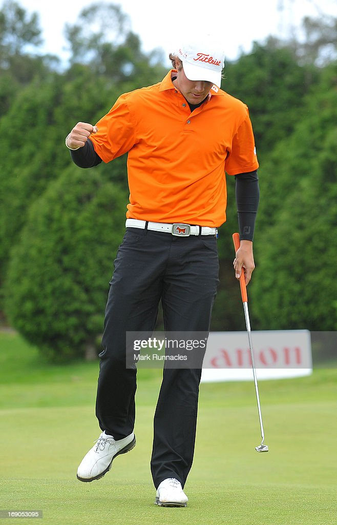 <a gi-track='captionPersonalityLinkClicked' href=/galleries/search?phrase=Peter+Uihlein&family=editorial&specificpeople=5511785 ng-click='$event.stopPropagation()'>Peter Uihlein</a> of the USA celebrates his first European Tour win on the 18th green the Madeira Islands Open - Portugal - BPI at Club de Golf do Santo da Serra on May 19, 2013 in Funchal, Madeira, Portugal.