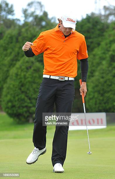 Peter Uihlein of the USA celebrates his first European Tour win on the 18th green the Madeira Islands Open Portugal BPI at Club de Golf do Santo da...
