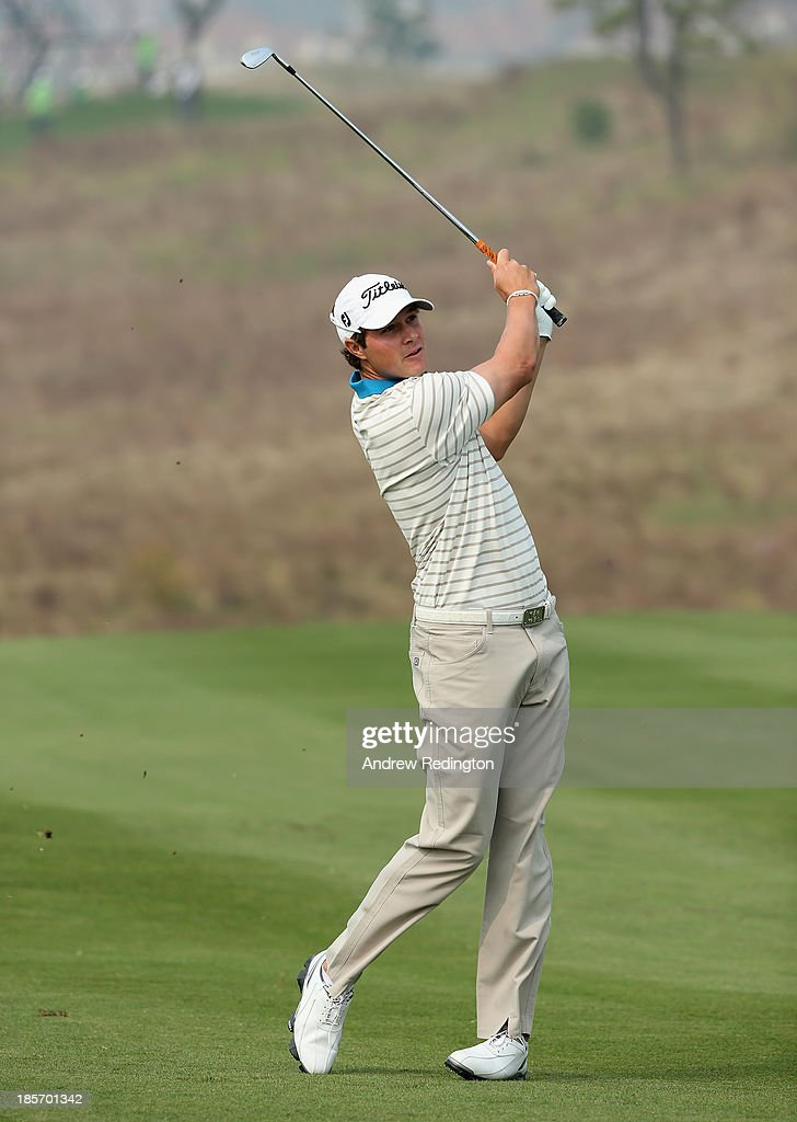 Peter Uihlein of the USA in action during the first round of the BMW Masters at Lake Malaren Golf Club on October 24, 2013 in Shanghai, China.