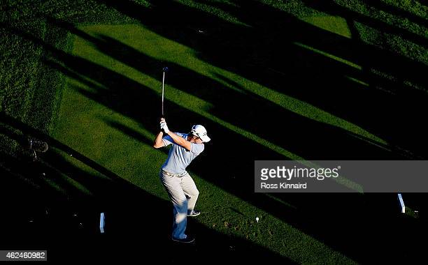 Peter Uihlein of the USA on the 17th tee during the first round of the Omega Dubai Desert Classic at the Emirates Golf Club on January 29 2015 in...