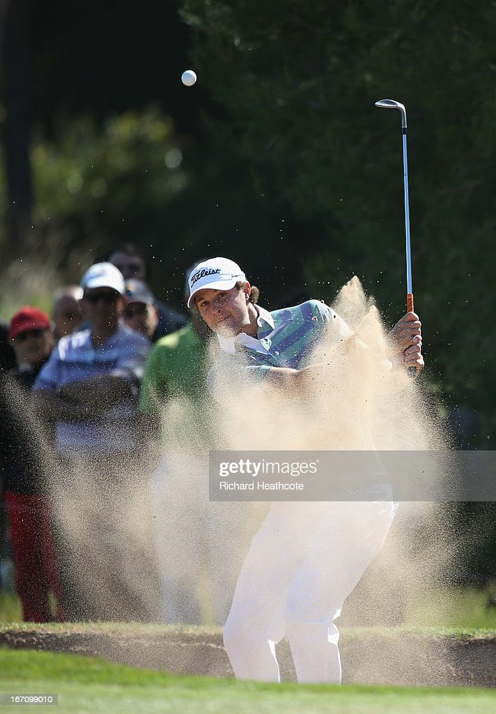 <a gi-track='captionPersonalityLinkClicked' href=/galleries/search?phrase=Peter+Uihlein&family=editorial&specificpeople=5511785 ng-click='$event.stopPropagation()'>Peter Uihlein</a> of the USA plays from a greenside bunker on the 15th during the Third round of the Open de Espana at Parador de El Saler on April 20, 2013 in Valencia, Spain
