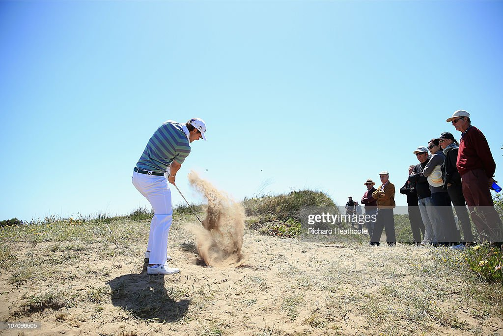 <a gi-track='captionPersonalityLinkClicked' href=/galleries/search?phrase=Peter+Uihlein&family=editorial&specificpeople=5511785 ng-click='$event.stopPropagation()'>Peter Uihlein</a> of the USA plays from a waste area on the 6th during the Third round of the Open de Espana at Parador de El Saler on April 20, 2013 in Valencia, Spain