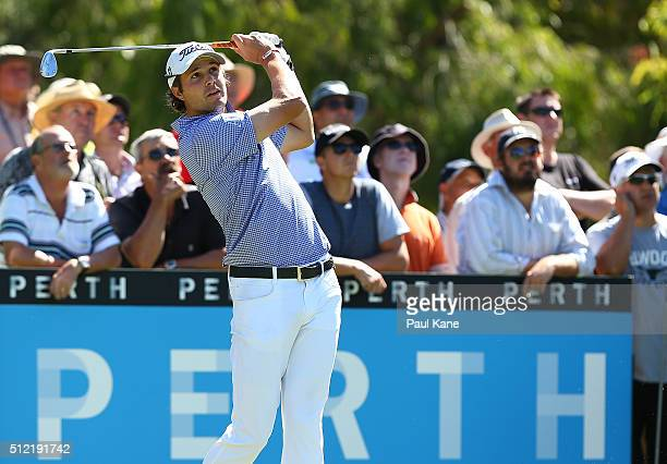 Peter Uihlein of the USA plays his tee shot on the 12th hole during day one of the 2016 Perth International at Lake Karrinyup GC on February 25 2016...