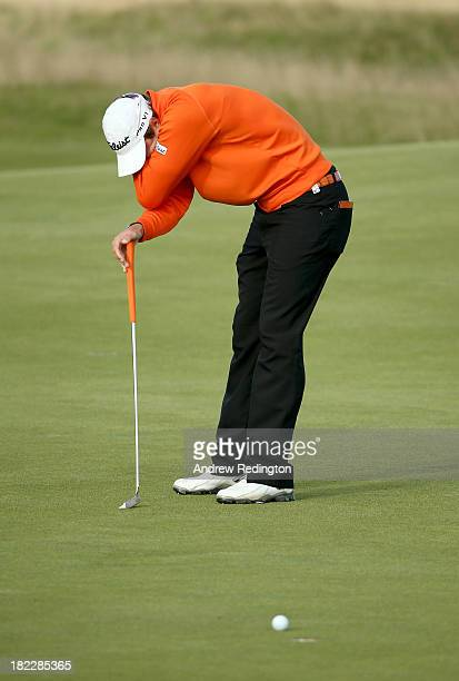 Peter Uihlein of the USA reacts after missing putt on 15th green during the final round of the Alfred Dunhill Links Championship on The Old Course at...