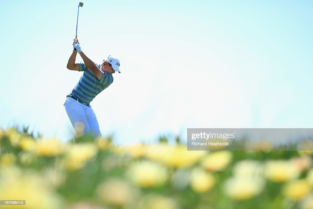 <a gi-track='captionPersonalityLinkClicked' href=/galleries/search?phrase=Peter+Uihlein&family=editorial&specificpeople=5511785 ng-click='$event.stopPropagation()'>Peter Uihlein</a> of the USA tee's off at the 9th during the Third round of the Open de Espana at Parador de El Saler on April 20, 2013 in Valencia, Spain