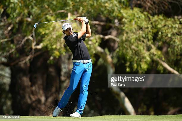 Peter Uihlein of the USA watches his second shot on the 7th hole during day two of the 2016 Perth International at Karrinyup GC on February 26 2016...