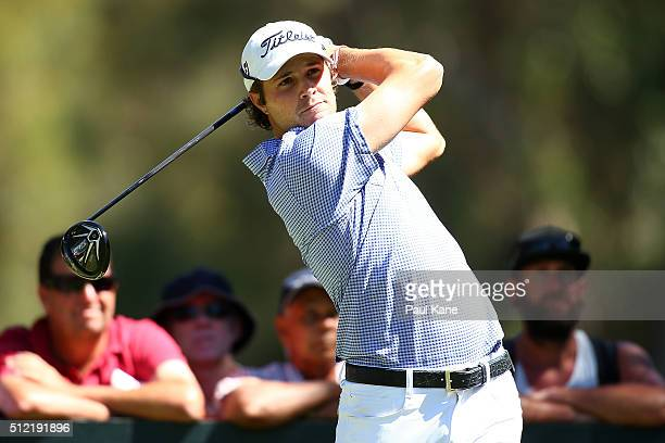 Peter Uihlein of the USA watches his tee shot on the 11th hole during day one of the 2016 Perth International at Lake Karrinyup GC on February 25...