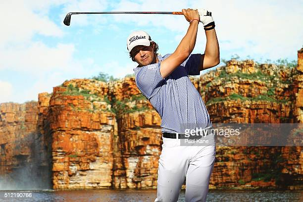Peter Uihlein of the USA watches his tee shot on the 18th hole during day one of the 2016 Perth International at Lake Karrinyup GC on February 25...