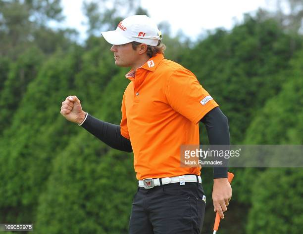 Peter Uihlein of USA celebrates his first European Tour win on the 18th green the Madeira Islands Open Portugal BPI at Club de Golf do Santo da Serra...