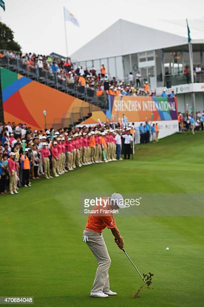 Peter Uihlein of USA plays a shot during the final round of the Shenzhen International at Genzon Golf Club on April 19 2015 in Shenzhen China