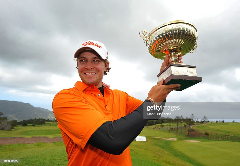 Peter Uihlein of USA poses with the trophy after winning the Madeira Islands Open - Portugal - BPI at Club de Golf do Santo da Serra on May 19, 2013 in Funchal, Madeira, Portugal.