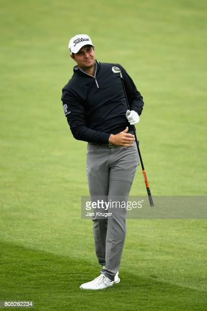 Peter Uihlien of The United States plays his second shot on the 9th during day three of the HNA Open de France at Le Golf National on July 1 2017 in...