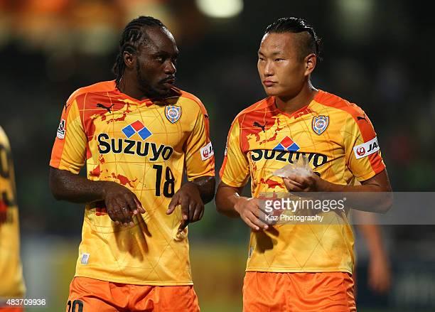 Peter Utaka and Jong Tae se of Shimizu SPulse talk during the JLeague match between Shimizu SPulse and Shonan Bellmare at IAI Stadium Nihondaira on...