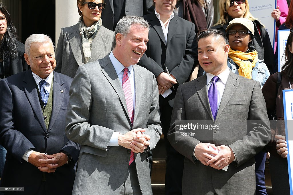 Peter Vallone, Bill De Blasio and John Liu attend the 2013 Footwear Cares Community Service Week and National Volunteer Week announcement at City Hall on April 22, 2013 in New York City.
