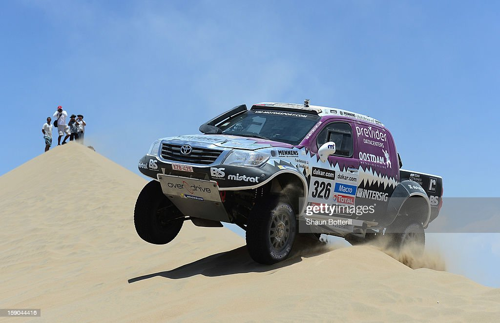 Peter Van Merksteun and co-pilot Eddy Chevaillier of team Toyota compete during the stage from Pisco to Pisco on day two of the 2013 Dakar Rally on January 6, 2013 in Pisco, Peru.