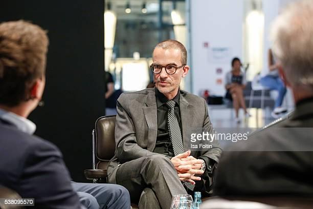 Peter Varga and Martin Berger diskuss the theme 'Wie schafft man es zur Legende zu werden' during the 5th Nachtschicht Berlin Design Night on June 3...