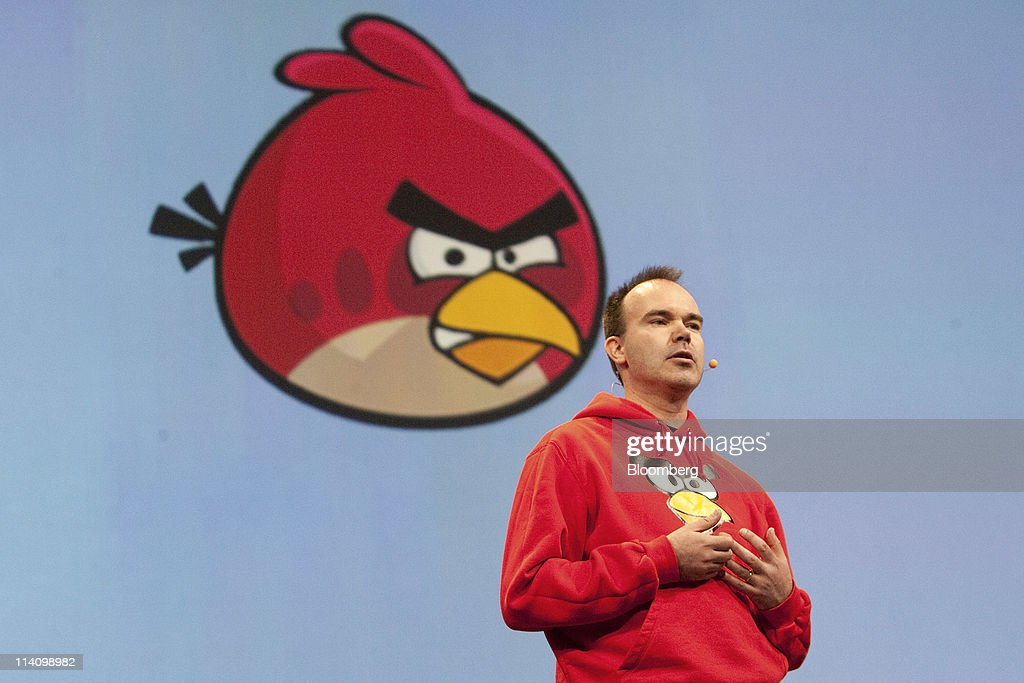 Peter Vesterbacka, chief executive officer of Rovio Mobile Ltd. and creator of the game 'Angry Birds', speaks during a keynote address at the Google I/O conference in San Francisco, California, U.S., on Wednesday, May 11, 2011. Google Inc.'s new Chromebook line of laptops, manufactured by Samsung Electronics Co. and Acer Inc., will go on sale next month, furthering the company's push into computer hardware. Photographer: David Paul Morris/Bloomberg via Getty Images