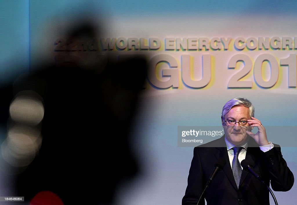 Peter Voser chief executive officer of Royal Dutch Shell Plc adjusts his glasses during the 22nd World Energy Congress in Daegu South Korea on...
