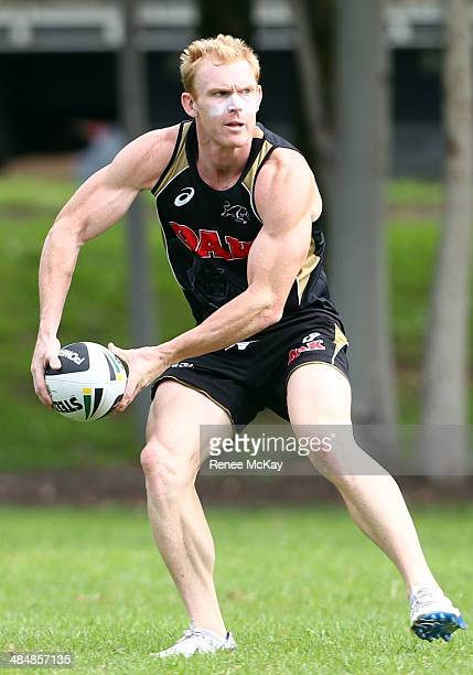 Peter Wallace in action during a Penrith Panthers NRL training session at Sportingbet Stadium on April 15 2014 in Sydney Australia