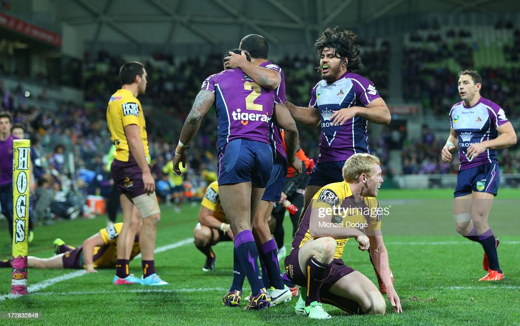 Peter Wallace of the Broncos after Sisa Waqa of the Storm scores a try during the round 17 NRL match between the Melbourne Storm and the Brisbane Broncos at AAMI Park on July 5, 2013 in Melbourne, Australia.