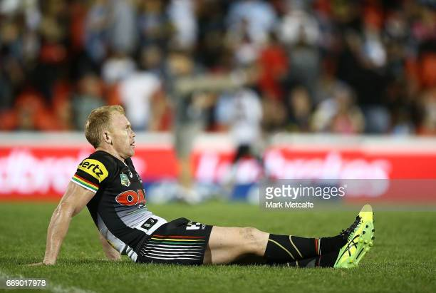 Peter Wallace of the Panthers looks dejected after defeat in the during the round seven NRL match between the Penrith Panthers and the Cronulla...