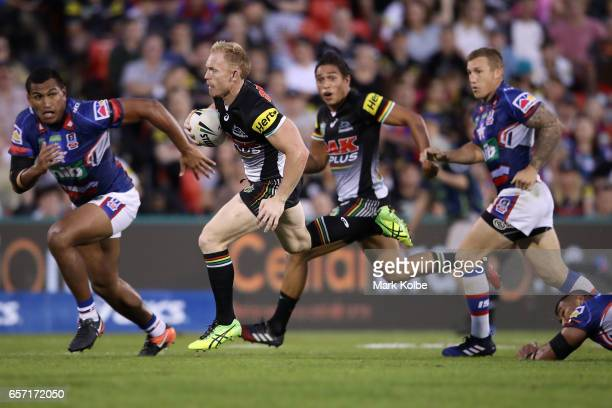 Peter Wallace of the Panthers makes a break during the round four NRL match between the Penrith Panthers and the Newcastle Knights at Pepper Stadium...