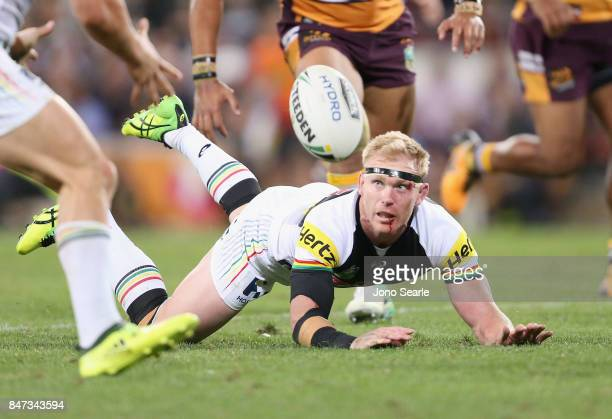 Peter Wallace of the Panthers makes a pass during the NRL Semi Final match between the Brisbane Broncos and the Penrith Panthers at Suncorp Stadium...
