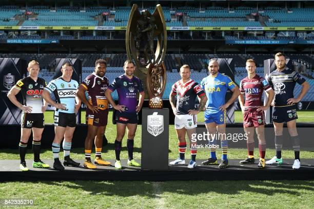 Peter Wallace of the Panthers Paul Gallen of the Sharks Sam Thaiday of the Broncos Cameron Smith of the Storm Jake Friend of the Roosters Tim Mannah...