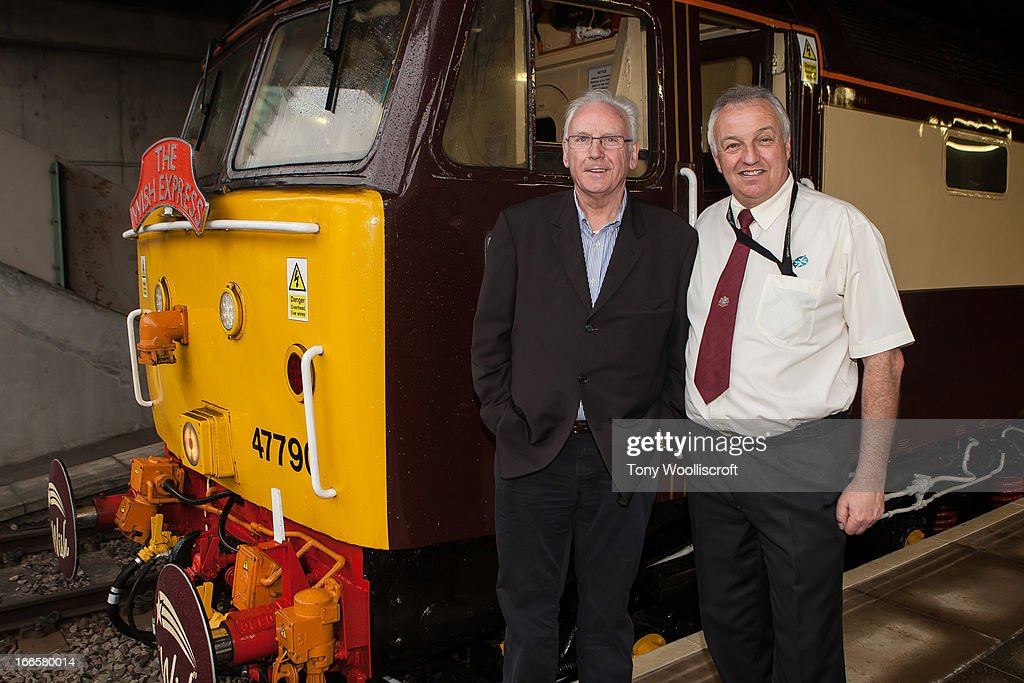Peter Waterman and Steve Finn (train driver) attends as The northern Belle makes a fundraising trip in aid of the 'When You Wish Upon a Star' charity on April 13, 2013 in Manchester, England.