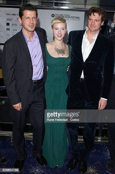 Peter Webber Scarlett Johansson and Colin Firth attend the premiere of 'Girl With A Pearl Earring' at the Odeon WestEnd in conjunction with the...