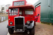 Peter Wellman 1950's Leyland PS1 bus at The Bentley Drivers Club Tests Meeting at The Brooklands Museum 15th March 2015