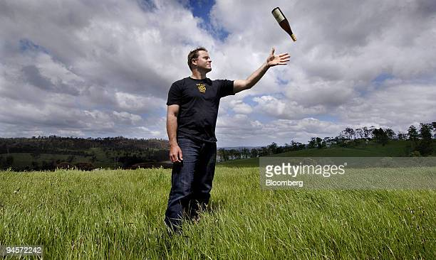 Peter WhishWilson owner of Three Wishes vineyard and an antimill campaigner poses for a photograph on his property near Launceston in northern...