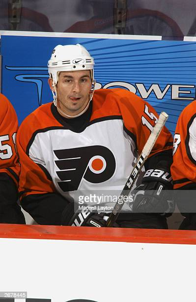 Peter White of the Philadelphia Flyers sits on the bench during the NHL preseason game against the Washington Capitals on October 1 2003 at the MCI...