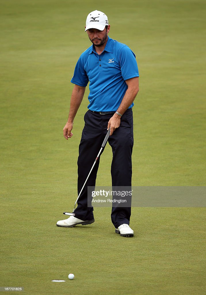 Peter Whiteford of Scotland reacts after a missed putt on the sixth hole during the final round of the Ballantine's Championship at Blackstone Golf Club on April 28, 2013 in Icheon, South Korea.