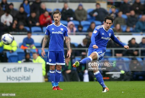 Peter Whittingham of Cardiff City has a shot on goal via a free kick during the Sky Bet Championship match between Cardiff City and Ipswich Town at...