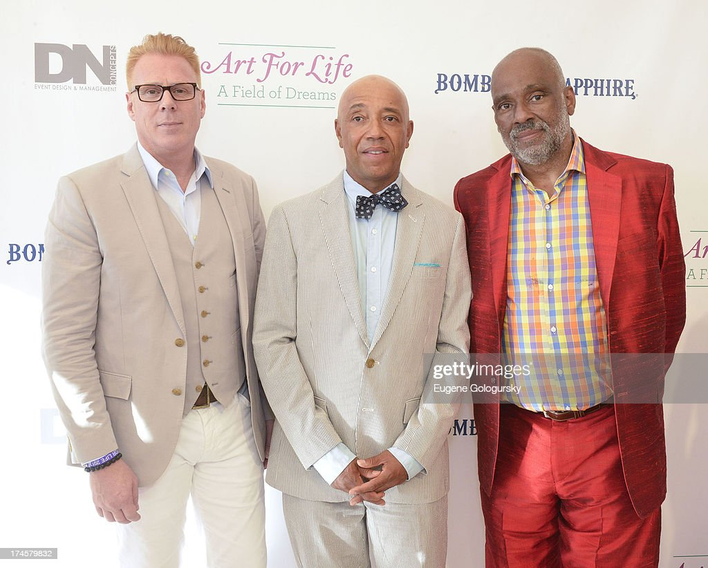 Peter Wijk, <a gi-track='captionPersonalityLinkClicked' href=/galleries/search?phrase=Russell+Simmons&family=editorial&specificpeople=202479 ng-click='$event.stopPropagation()'>Russell Simmons</a> and Danny Simmons attend the <a gi-track='captionPersonalityLinkClicked' href=/galleries/search?phrase=Russell+Simmons&family=editorial&specificpeople=202479 ng-click='$event.stopPropagation()'>Russell Simmons</a> 14th Annual Art For Life Benefit Sponsored By BOMBAY SAPPHIRE Gin at Fairview Farms on July 27, 2013 in Bridgehampton, New York.