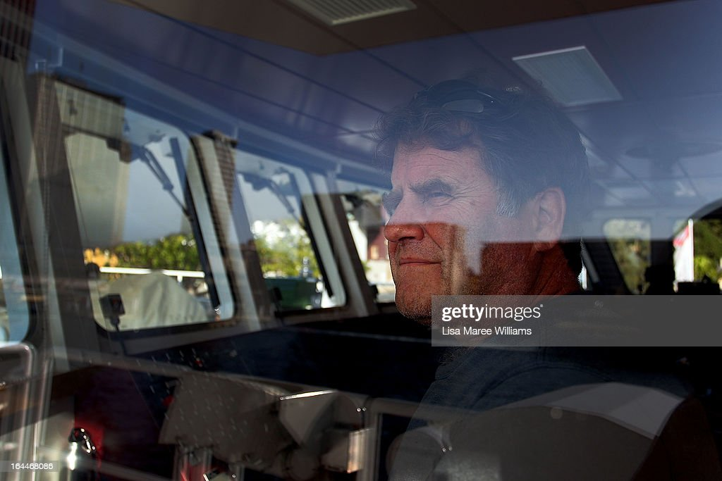 Peter Willcox, Captain of the Greenpeace Rainbow Warrior stands at the bridge whilst docked at the Overseas Passenger Terminal in Circular Quay on March 24, 2013 in Sydney, Australia. The vessel is in Australia to protest new coal mines set to open near the Great Barrier Reef, and is opening for public viewing at ports across the country. The original Rainbow Warrior was bombed and sunk in Auckland Harbour in 1985 by two French intelligent agents, killing a Dutch photographer on board.