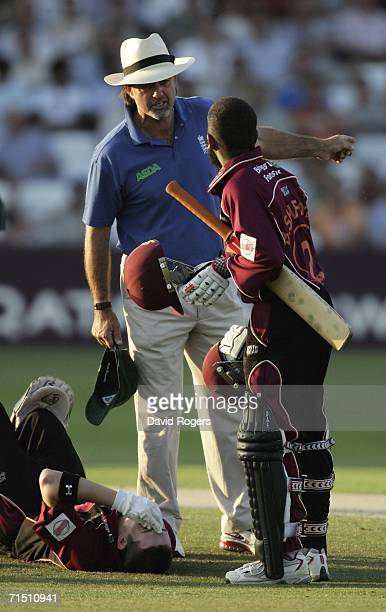 Peter Willey the umpire dismisses Bilal Shafayat who was a runner for the injured Riki Wessels during the Twenty20 quarter final match between...